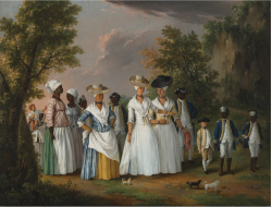 Figure 6. Agostino Brunias (Italian, ca. 1730-1796). Free Women of Color with Their Children and Servants in a Landscape, ca. 1770-1796. Oil on canvas, 20 × 26 1/8 in. (50.8 × 66.4 cm). Brooklyn Museum, Gift of Mrs. Carll H. de Silver in memory of her husband, by exchange and gift of George S. Hellman, by exchange, 2010.59