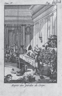 Fig. 3. A depiction of the royal family entering the banquet. Unattributed print, Repas des gardes du corps (1789–95). Courtesy of the Bibliothèque nationale de France.