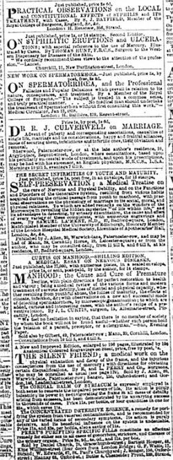 Figure 2. Advertisements for medical publications on sexual topics in Bell's Life in London, February 14, 1858. Print.