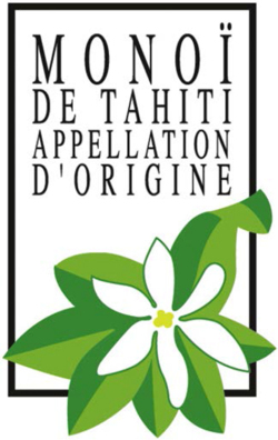 Figure 2. The Appellation d'Origine Monoï de Tahiti logo. Most (though not all) certified producers display the symbol on their product. Credit: Institut du Monoï; reproduced with permission.