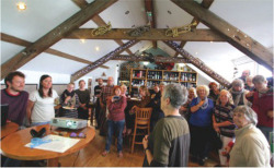 "Fig. 6. Upstairs at the Victoria Inn, Borth; image by Becky Payne. Beckyfleming, ""Pictures from the Cymerau Launch,"" Hydrocitizens (blog), October 10, 2015, ."