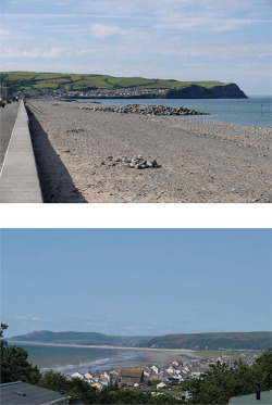 "Fig. 7. Borth, view to the south (a) and view to the north (b); images by Maggie Roe. Maggie Roe, ""Snippets of a Welsh Waterblog: A Visit to Borth, July 2015,"" Hydrocitizens (blog), July 28, 2015, ."