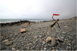 "Fig. 12. Driftwood sculpture on the beach at Borth; facilitated by the artist Bodge, image by Becky Payne. Beckyfleming, ""Pictures from the Cymerau Launch,"" Hydrocitizens (blog), October 10, 2015, ."