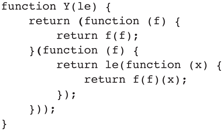 Figure 1. The applicative order Y combinator, from Daniel P. Friedman and Matthias Felleisen, The Little Schemer, implemented by Douglas Crockford in JavaScript.