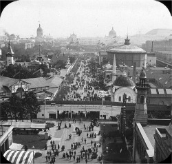 Fig. 7. The Midway Plaisance, World's Columbian Exposition, 1893, Bird's eye view from Ferris wheel looking east, by William Henry Goodyear, Brooklyn Museum Archives, Goodyear Archival Collection, Wikimedia Commons.