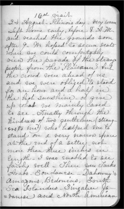 Fig. 8. Page from Elizabeth Gookin's Diary, World's Columbian Exposition, 1893, Newberry Library photo, Gookin Family Papers, January 1887– December 1874, box 6, folder 51, Newberry Library, Chicago. Courtesy of the Newberry Library.
