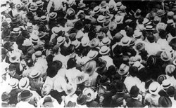 Fig. 13. Detail of original photo, Mob Preparing to Lynch Jesse Washington, Waco City Hall, 1916, by Fred Gildersleeve, published by the NAACP as a supplement to The Crisis 12, no. 3, The Waco Horror, Wikimedia Commons.