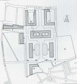 Fig. 1. Sketch-layout of the 1851 Commissioners' Estate suggested by Prince Albert in 1853. A, National Gallery; B, C, Colleges of Art and Science; D, E, Museums of Industrial Art, Patented Inventions, Trade Museums, etc.; F, G, H, private houses, official residences, or other institutions; I, possible site of hall for Academy of Music; K, possible site of Learned Societies; L, Hall of Glory; K, Approximate site of the current V&A. From Survey of London, vol. 38, The Museums Area of South Kensington and Westminster (1975).