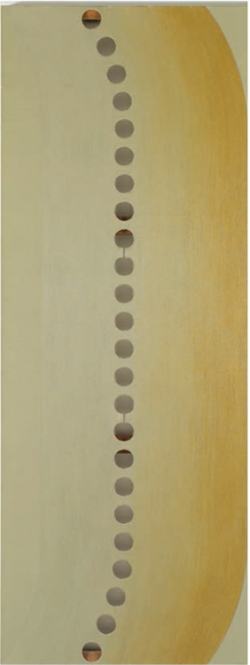 Figure 11. Lee Lozano, Punch, Peek & Feel (1967-1970). Oil on canvas with perforations, 243 x 107 x 4 cm., 95-⅝ x 42-⅛ x 1-⅝ in. Moderna Museet © The Estate of Lee Lozano. Courtesy Hauser & Wirth. Photo by Stefan Altenburger Photography Zürich.