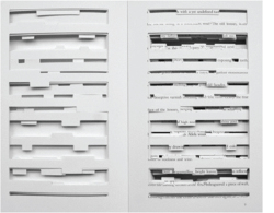 Figure 3. Image of die-cut pages showing verso and recto sides of Jonathan Safran Foer's Tree of Codes (2010). Courtesy of the publisher, Visual Editions.