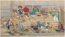 Plate 13. Kitchen at Nakanari' s residence. Courtesy of Bibliothèque nationale de France.
