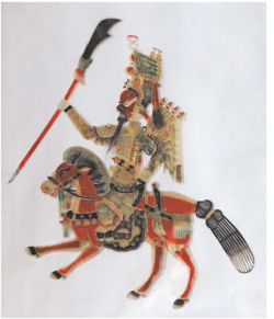 Figure 1. The design of Wang Piying figures was distinctive. General Guan Yu usually had a red face and rode a red horse. (Photo: Tang Rui)
