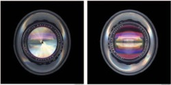 Color Plate A. REFRACTIVE FINGERPRINTS OF LENSES: EXPLORATIONS IN LIGHT TRANSFORMATIONS Scan of Leitz Wetzlar Noctilux 50mm, left view F 16, right view F 1.2, 2013. This was Leica's first extremely low-light lens, designed in 1966. (© Sheila Pinkel) (See article in this issue by Sheila Pinkel.)