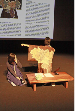 Figure 2. The kimono Ng wears showing Japanese-occupied Manchuria and Korea (in the after-performance talk). Photograph courtesy of Sun Siwei