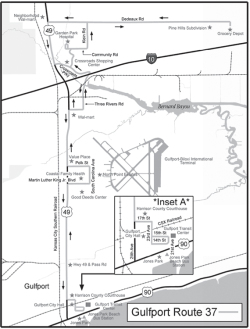 Figure 1. Gulfport public transportation routes along the Highway 49/Interstate 10 corridors