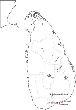 Fig. 1. Map of Sri Lanka showing the location of Mini-athiliya and other midden sites.