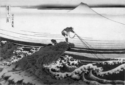 Figure 1. Katsushika Hokusai, Kōshū Kajikazawa (Kajikazawa in Kai Province) from the series Fugaku sanjū-rokkei (Thirty-six Views of Mount Fuji), c. 1830–32. Woodblock color oban print. This author's collection, New Zealand.