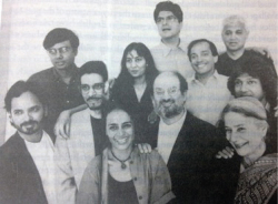 "Fig. 1. From left to right: Vikram Chandra, Amit Chaudhuri, Rohinton Mistry, Arundhati Roy, Kiran Desai, Ardashir Vakil (top), Salman Rushdie, Vikram Seth, Amitav Ghosh, Romesh Gunesekara, Anita Desai. This photograph by Max Vadukul was first published in the New Yorker's June 23/30, 1997 issue with the caption ""A Gathering of India's Leading Novelists."" It was later reprinted with the caption ""Salman Rushdie and Friends"" in A History of Indian Literature in English (2003), edited by A.K. Mehrotra."