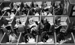 "Fig. 2. Indian employees at a call center in the southern city of Bangalore, India. This photograph by Sherwin Crasto/Reuters/Corbis was published in The Guardian alongside Shehzad Nadeem's 2011 article ""Accent Neutralisation and a Crisis of Identity in India's Call Centres."""