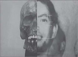 Fig 1. A screenshot of the image the SML created by superimposing a skull identified as that of Fernando Olivares on a photograph of him. This image appeared in the documentary Fernando ha vuelto. (Source: Reprinted with permission from Andrea Films Caiozzi y García Ltda.)