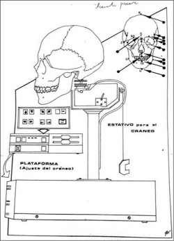 Fig 4. Page from the TLGA-213 manual translated into Spanish for use by the SML. This image shows the platform the scientists used to position the skull to match the angle of the face in the photograph. (Source: 22° Juzgado del Crimen de Santiago, Rol de la causa: 4.449–AF, inhumación ilegal. Public document.)