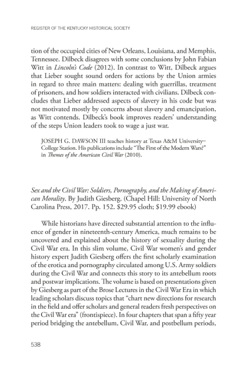 Project MUSE - Sex and the Civil War: Soldiers, Pornography, and the Making of American Morality by Judith Giesberg (review) - 웹