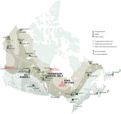 "Figure 2. ""Mid-Canada Corridor, 2014"" from John Van Nostrand, ""If We Build It, They Will Stay,"" The Walrus, 8 September 2014. Cartography by Chris Brackley."
