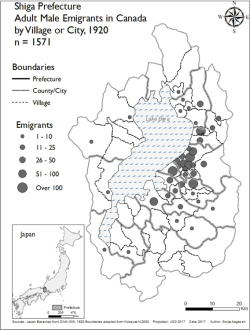 Figure 1. Emigration from Shiga prefecture, showing concentration on the Koto Plain. (Map by Sonja Aagese.)