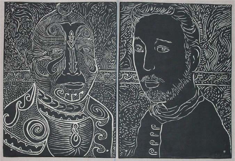 Fig. 19. Monica Namyar, Ishmael and Queequeg, 2016, porcelain diptych with black velvet underglaze, 18 x 11 1/4 in. <br/><br/>Courtesy of Robert K. Wallace.