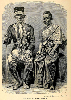 Figure 1a. The King and Queen of Siam, drawn by M. Bocourt, from a photograph, 1863. Source: Henri Mouhot, Travels in the Central Parts of Indo-China (Siam), Cambodia, and Laos: Vol. 1 (London: John Murray, 1864), mouh [accessed 1 Aug. 2017].