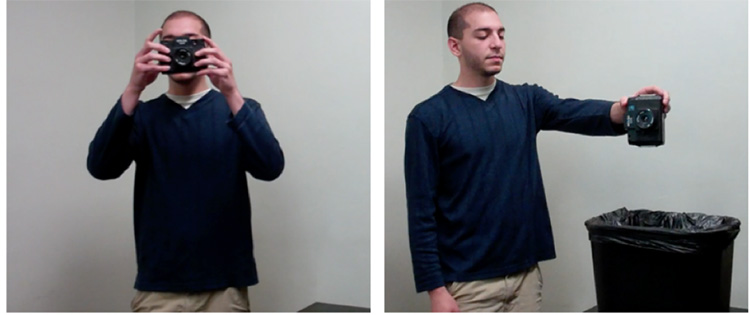 Figure 2. Two images from sample verb-target (left) and noun-target (right) stimuli. In the verb-target stimulus, a man holds a camera in front of his face and pushes the button to take a picture. In the noun-target stimulus, the same man drops a camera into a trash can.
