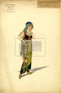 Figure 11. Costume for Undine as the fishers' daughter, Basil Crage (Theaterkunst Atelier of Hermann Kaufmann), Undine (Albert Lorzing), Berlin, ca.1915. Ink and watercolor. TWS G3122a.