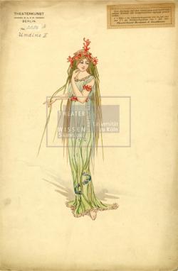 Figure 12. Costume for Undine as Wassergeist, Basil Crage (Theaterkunst Atelier of Hermann Kaufmann), Undine (Albert Lorzing), Berlin, ca.1915. Ink and watercolor. TWS G3122b.