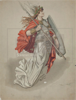 Figure 14. Brünnhilde costume, Carl Emil Doepler, Der Ring des Nibelungen (Richard Wagner), Bayreuth, 1876. Lithograph. TWS G2013/11/1.