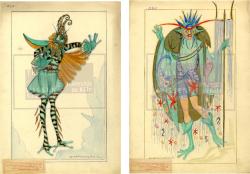 Figures 24a–b. Two costume designs for fantastical male sea creatures, Erna Bergmayer, Meeresleben Ballett, Berlin, 1920. Watercolor. TWS G3507e, G3507f.