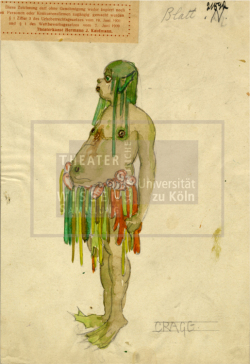Figure 25. Costume design for a Neck (male water creature), Basil Craig, Der Sturm, ca.1920. Pencil and watercolor. TWS G3258.