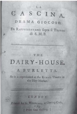 Fig. 6. Title page of La Cascina (London, G. Woodfall, 1763).