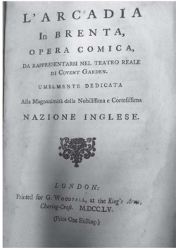 Fig. 8. Title page of L'Arcadia in Brenta (London, G. Woodfall, 1755).