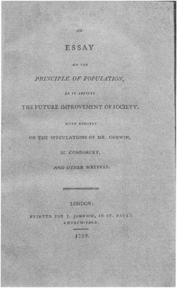 Figure 3. Title page for the first edition of Malthus's Essay. Courtesy of The Carl H. Pforzheimer Collection of Shelley and His Circle, New York Public Library, Astor, Lenox, and Tilden Foundations.