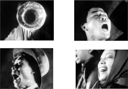 "Figure 2. Stills of the singing of ""March of the Volunteers"" (義勇軍進行曲 ""Yiyongjun jinxingqu"") in the film A Poem of the Great Wall (風雲兒女 Fengyun ernü), directed by Xu Xingzhi (Shanghai: Denton Film Studio, 1935)."