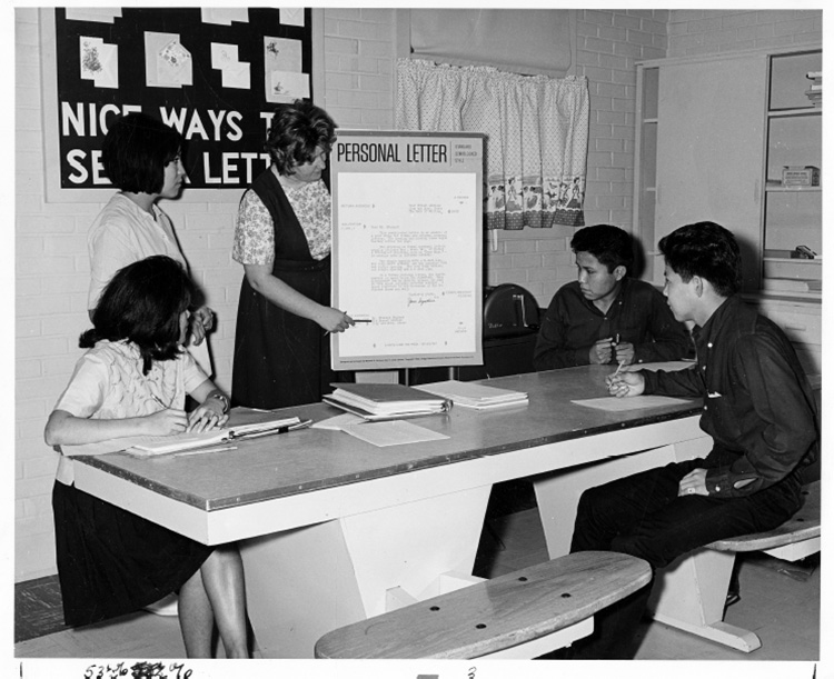 Figure 1. Students learning how to write personal letters, 1955–70. Courtesy of Utah State University Special Collections Library.