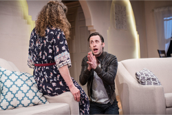 Figure 1. Youssif (Greg Gale) pleads with Hadeel (Naomi Wright) to run away with him in the melodramatic first act of Kiss. (Photo: James Heaslip.)