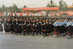 Figure 10. Ethnic minorities female armed groups at the parade of 1985. Image: Grant Evans.