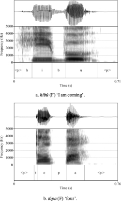 Figure 1. Lakota contrast between /b/ and /p/ in intervocalic position.