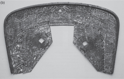 Figure 2.3b. Gilt bronze saddle plate with hexagonal design, dated to the fourth century CE and found at Chaoyang, Liaoning (China); maximum width: 45 cm. After James C.Y. Watt et al., eds., China: Dawn of a Golden Age (New York: The Metropolitan Museum of Art, 2004), No. 25.