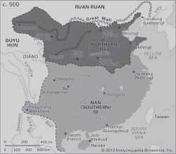 Map 2.1. Map of China showing Northern and Southern Dynasties, with the (Southern) Six Dynasties capital at Jiankang (Nanjing), ca. 500 CE. From Fairbank, Reischauer, and Craig, East Asia, 2nd ed.