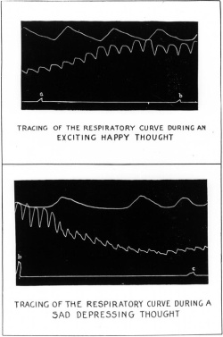 Figure 12. Respiratory tracing during happy (above) and sad (below) thoughts. From William S. Sadler, The Physiology of Faith and Fear, or The Mind in Health and Disease (Chicago: A. C. McClurg, 1912), p. 196.