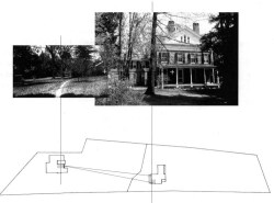Figure 5. Site plan showing the view from the Homestead's western façade onto the Evergreens. The open lawn between the two houses gave Dickinson a view from her second story room of Austin and Sue's first floor conjugal bedroom, highlighted here.