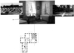 Figure 11. Plan diagram of Dickinson's southwest corner bedroom, which afforded views of the hayfields and mountains to the south and the Evergreens to the west.