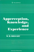 Apperception, Knowledge, and Experience Cover